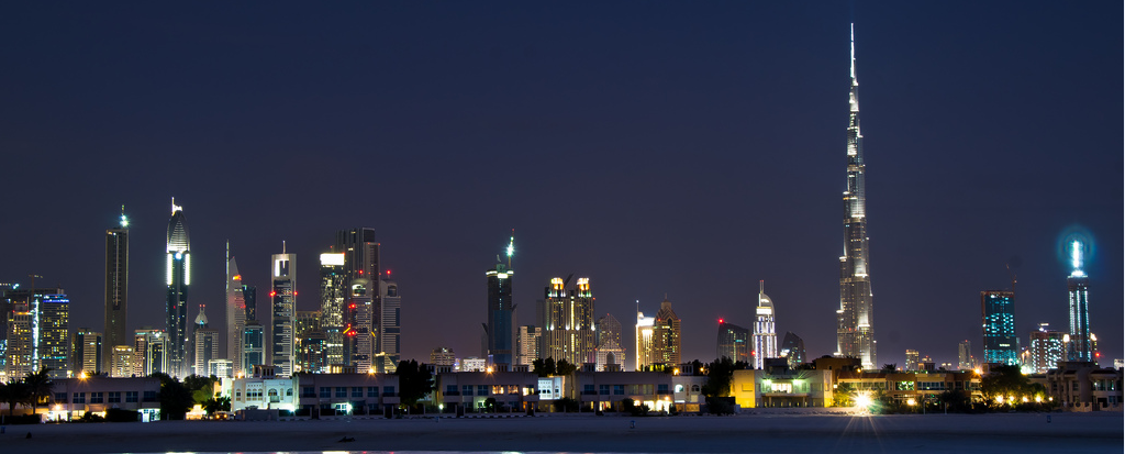 Dubai skyline night blue 2