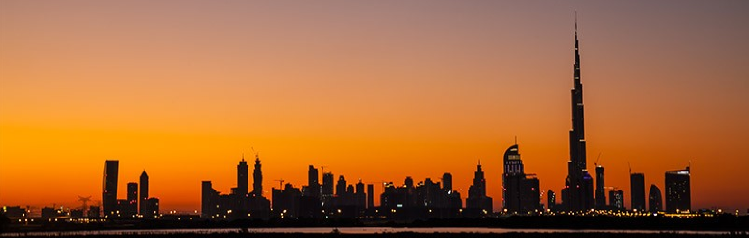 Dubai skyline night orange 2